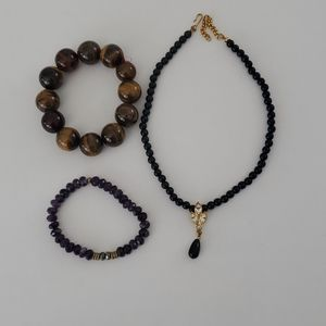 Jewelry - 2 BRACELETS AND AN EVENING NECKLACE
